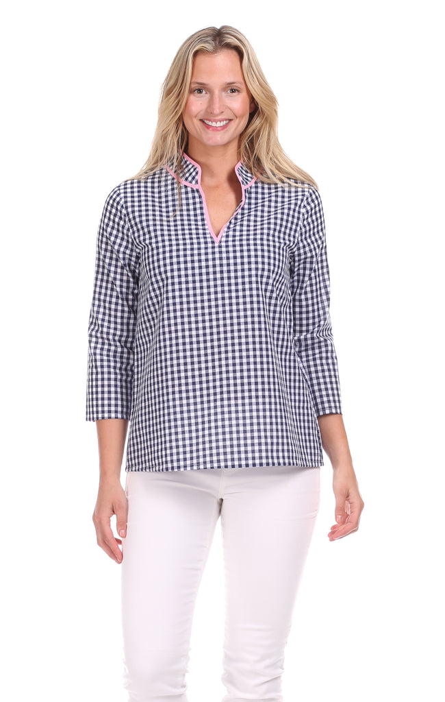 Layla Tunic in Navy Gingham