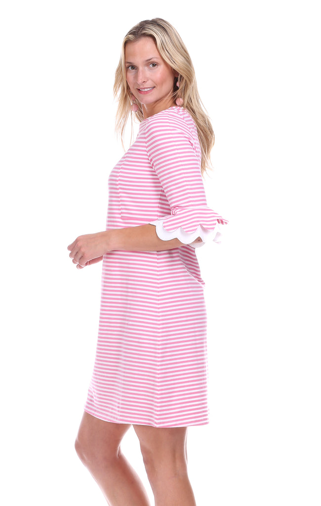Rosewood Dress in Pink & White Stripe