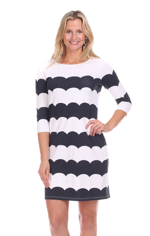 Coldwater Wrap Dress in Pink & White Stripe