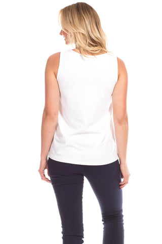 Serena Scallop Tank in White