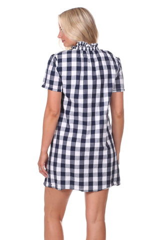 Alana Dress in Navy Gingham