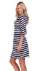 Summit Dress in Navy & White Stripe