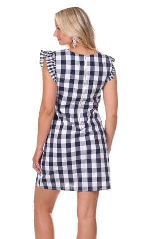 Julie Dress in Navy Gingham