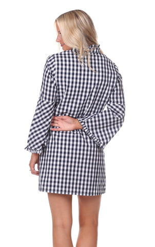 Joyce Dress in Navy Gingham