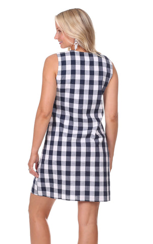 Kelly Dress in Navy Gingham