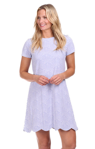 Girls Maddie Dress in Sky Seersucker