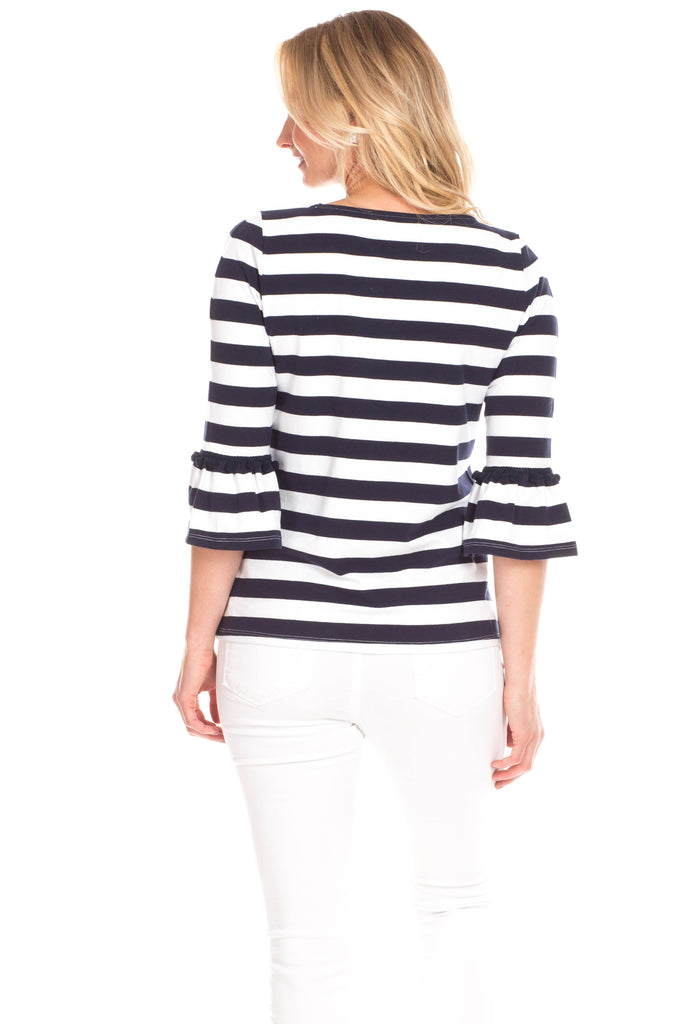 Preston Top in Navy and White Stripes