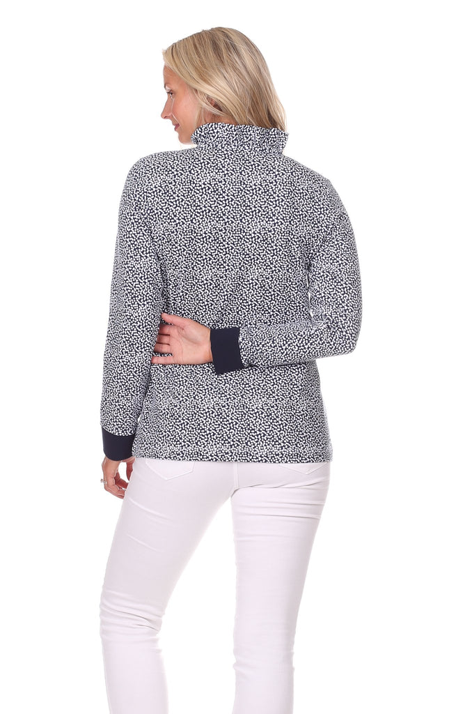 Piper Pullover in Navy Scatter Dot
