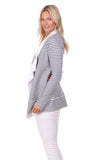 Chloe Cardigan in Navy & White Stripe with White