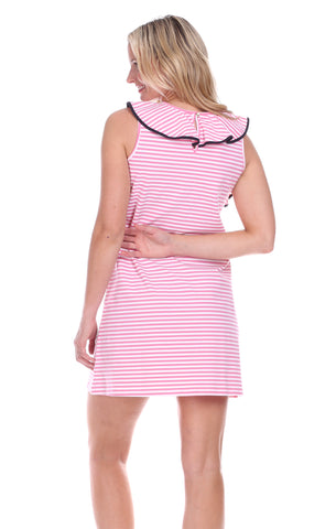 Darby Dress in Pink & White Stripe