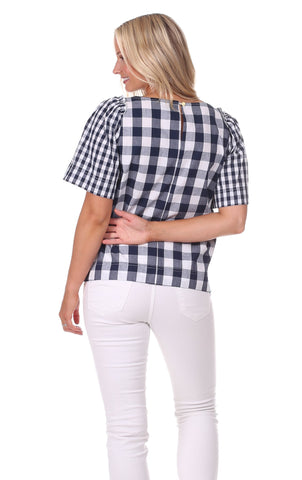 Jade Top in Navy Gingham