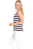Serena Scallop Tank in Navy and White Stripes