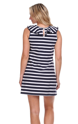 Darby Dress in Navy & White Stripe