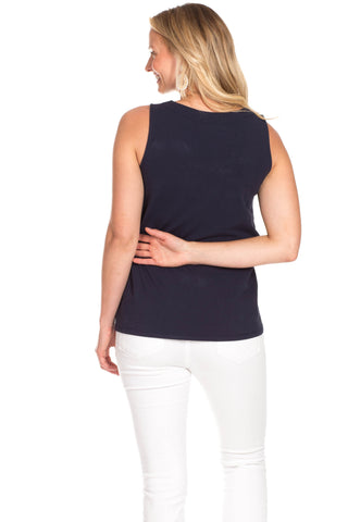 Serena Scallop Tank in Navy