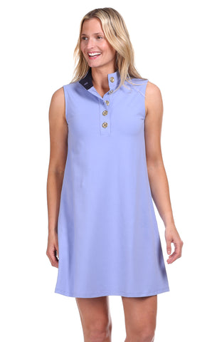 Sarah Shift Dress in Sky Seersucker