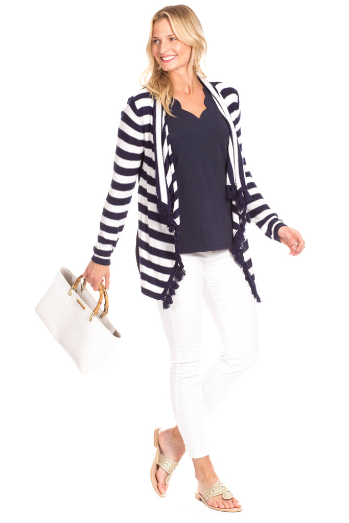 Ashley Sweater in Navy Stripe