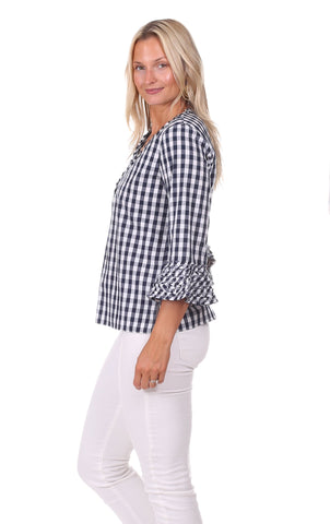 Aubrey Top in Navy Gingham