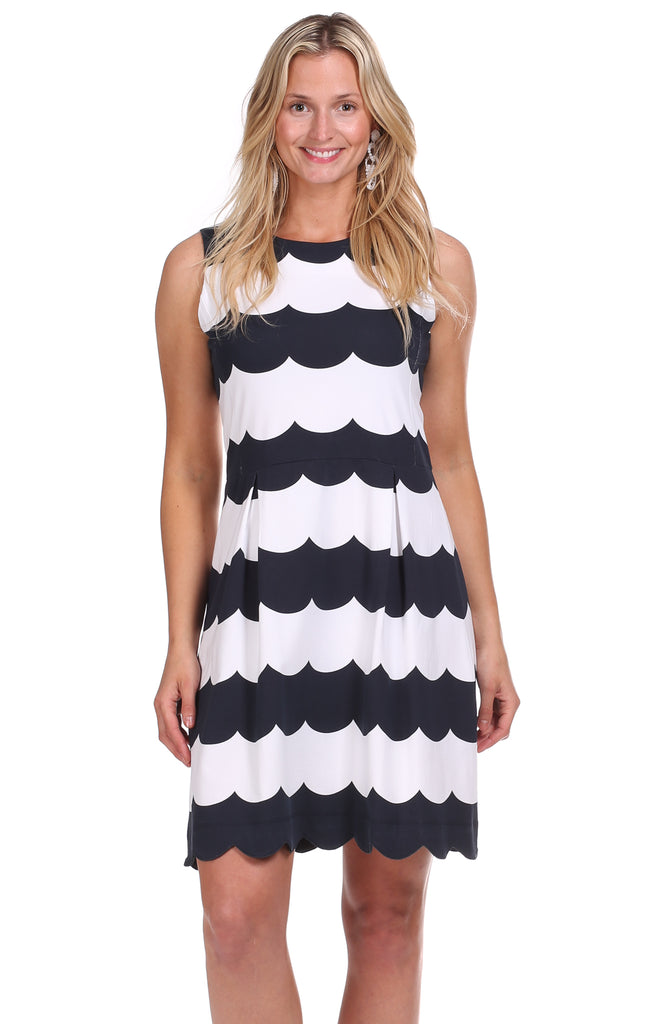 Lakeview Dress in Navy Scallop