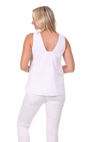 Naples Top in White Swiss Dot