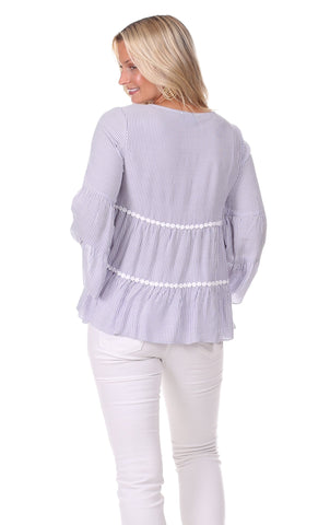 Charlie Top in Lavender Stripe