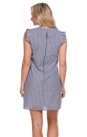 Ruffle Sinclair Dress in Navy Gingham