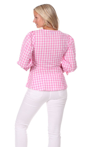 Rudy Wrap Top in Pink Gingham