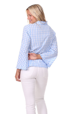 Onekama Top in Sky Gingham