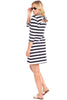 Tustin Tie-Back Dress in Navy Stripes