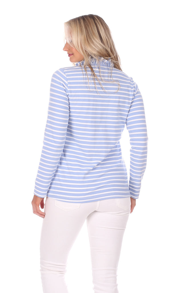 Piper Pullover in Hydrangea & White Stripe