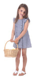 Girls Ruffle Sinclair Dress in Navy Gingham