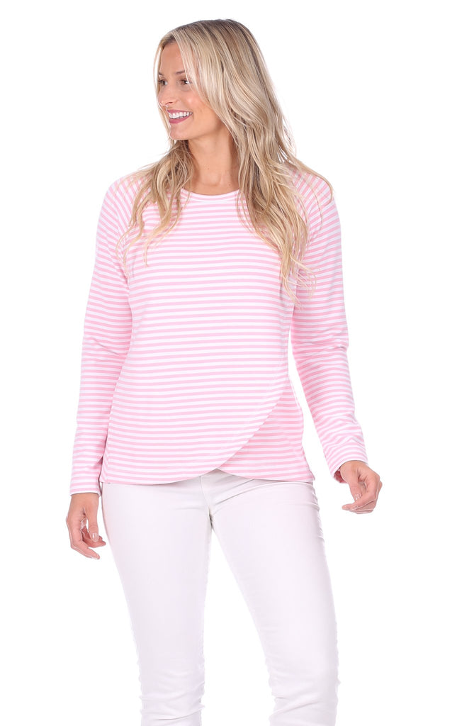 McKenna Crew Neck in Strawberry & White Stripe
