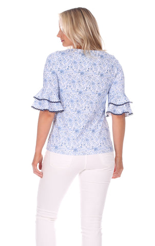 Zeeland Top in Blooming Blue