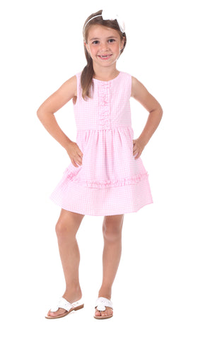 Girls Carroll Dress in Pink Stripe