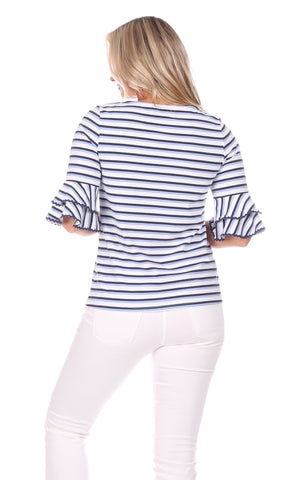 Zeeland Top in Navy, White & Hydrangea Stripe