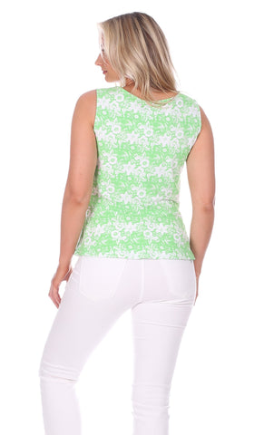 Renata Tie Tank in Green Botanical