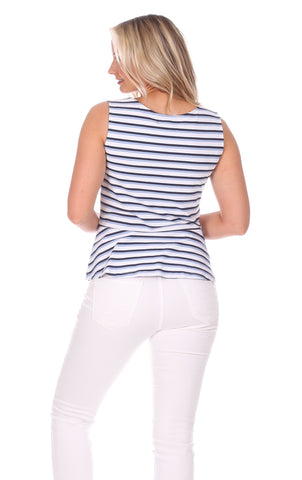Renata Tie Tank in Navy, White & Hydrangea Stripe