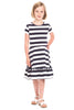 Girls Paige Pom-Pom Dress in Navy Stripes