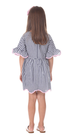 Girls Rosalie Dress in Navy Gingham