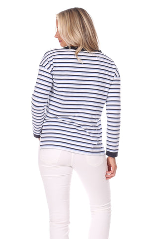 Sunset Pullover in Navy, White & Hydrangea Stripe
