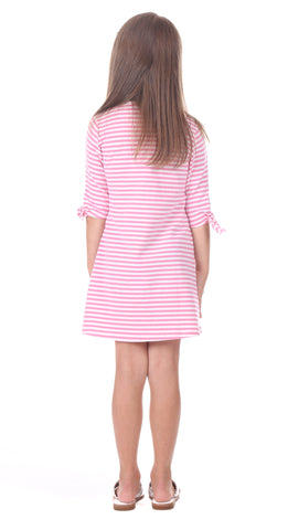 Girls Summit Dress in Pink Stripe