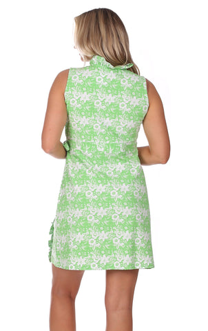Coldwater Wrap Dress in Green Botanical