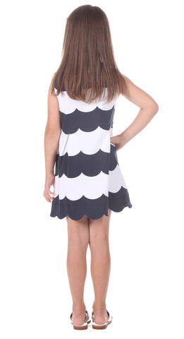 Girls Lakeview Dress in Navy Scallop