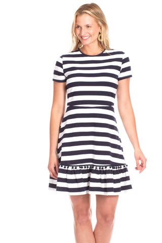 Carroll Dress In Navy with White