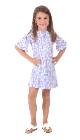 Girls Sophie Dress in Navy & White Stripe with Coral