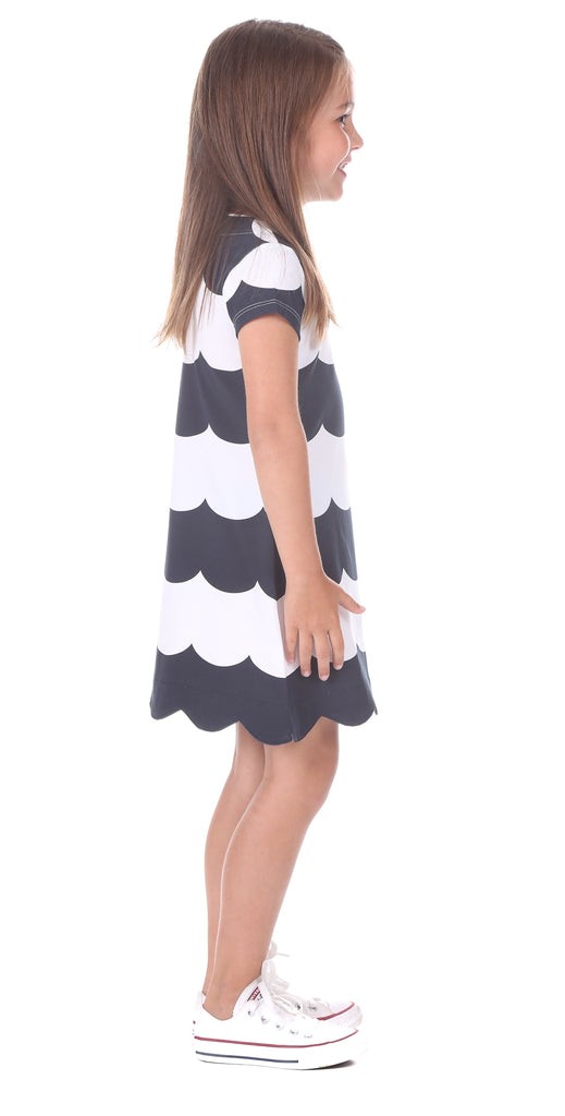 Girls Violet Dress in Navy Scallop