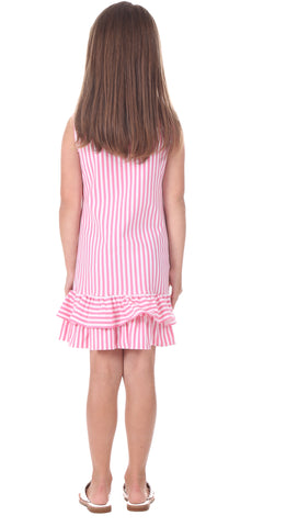 Girls Hallie Dress in Pink Stripe