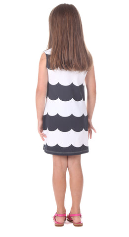 Girls Poppy Dress in Navy Scallop