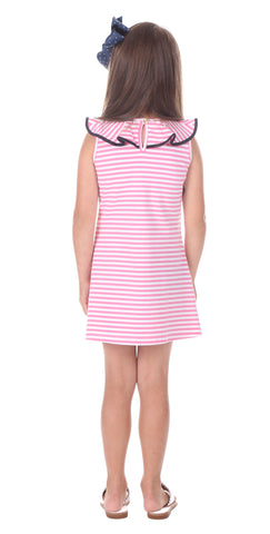 Girls Darby Dress in Pink Stripe