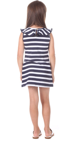Girls Darby Dress in Navy Stripe