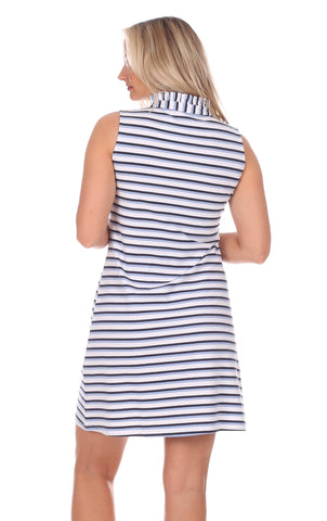Poppy Dress in Navy, White & Hydrangea Stripe